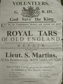 Plakat rekrutacyjny Kompanii Kaperskiej - Identyczne rozwieszano w XIX w. angielskich powiatach. Obwieszczenie zwiastowało niechybne pojawienie się Press-Gangu w okolicy.