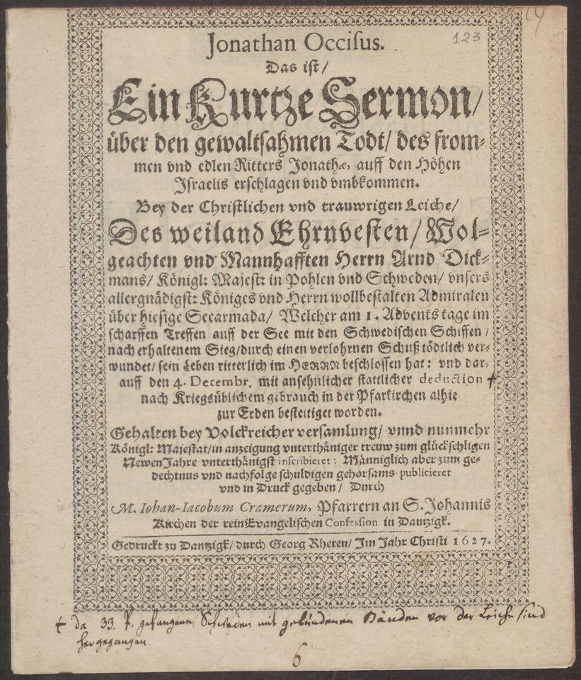 Strona tytułowa mowy pogrzebowej Johanna Jacoba Cramera